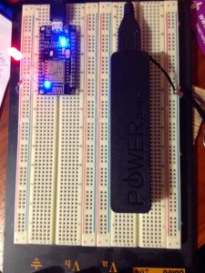NodeMCU on breadboard
