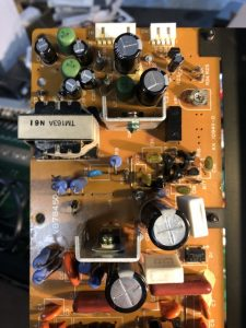 power supply board, new capacitors added